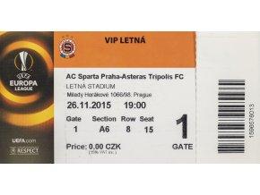 Vstupenka UEFA , Sparta Praha v. Asteras Tripolis FC, 2015