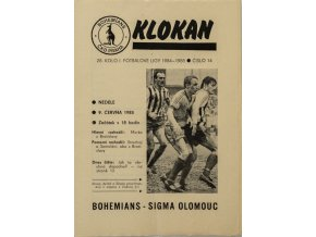 Program Klokan, Bohemians vs. Sigma Olomouc, 19841985