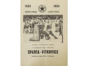 Program hokej, Sparta v. Vítkovice, 1984