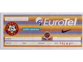 Vstupenka UEFA , Sparta Praha v. FC ZIMBRU Chisinau, 1995