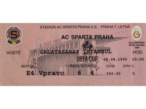 Vstupenka UEFA , Sparta Praha v. Galatasaray Istambul, 1995