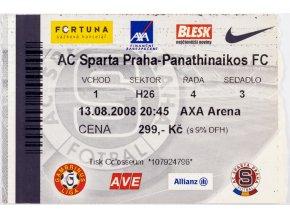 Vstupenka UEFA , Sparta Praha v. Panathinaikos FC, 2008 II
