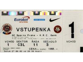 Vstupenka UEFA , Sparta Praha v.KRC Genk, 2002