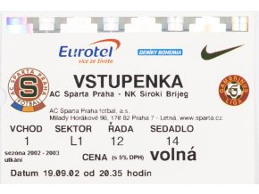 Vstupenka UEFA , Sparta Praha v.NK Siroki Brijeg, 2002