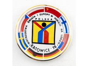 Porcelánový talíř, hokej, MS 1976, Katowice (1)