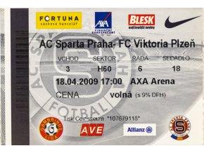 Vstupenka fotbal , Sparta Praha v. Plzeň, 2009