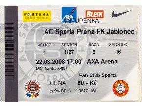 Vstupenka fotbal , Sparta Praha v. FK Jablonec, 2008