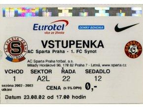 Vstupenka fotbal , Sparta Praha v. FC Synot, 2002