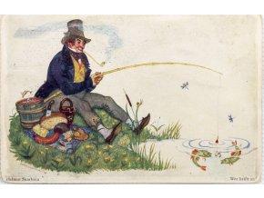Dobová pohlednice, Pohoda na rybách, Helmut Skrabina (1)