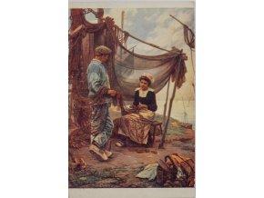 Dobová pohlednice, Námluvy rybáře, 1920 (2)