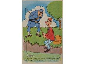 Dobová pohlednic, Policajt a rybář (1)