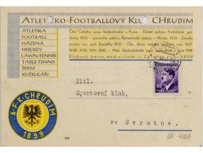 Korespondenční lístek , potvrzeni, Aleticko Footbalový klub Chrudim, 1943 (1)