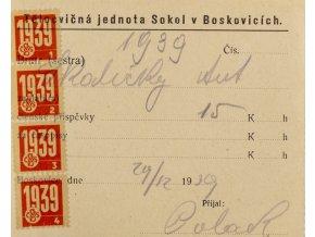 Dokument legitimace, Jednota Sokol v Boskovicích, 1939