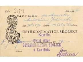Členská legitimace Ústřední matice školské, 1936 (1)