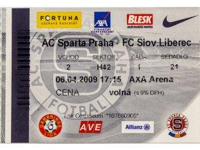Vstupenka fotbal , Sparta Praha v. FC Slov. Liberec, 2009