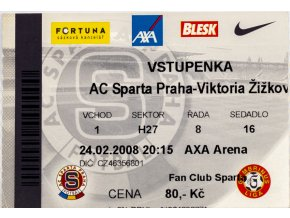 Vstupenka fotbal , Sparta Praha v. Viktoria Žižkov, 2008