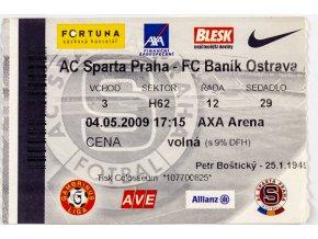 Vstupenka fotbal , Sparta Praha v. FC Baník Ostrava, 2009