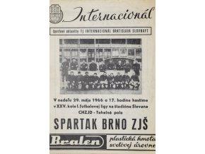 Program Internacionál Bratislava vs. Spartak Brno ZJŠ, 1966