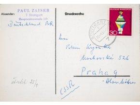 Korespondenční lístek , šachová partie, Stuttgart (1)