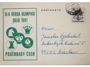 Korespondenční lístek , šachová partie, III A Olimpiko, Poděbrady ČSSR, 1991 (1)