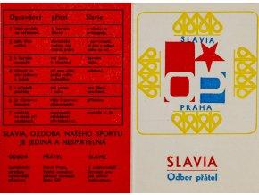 Členská legitimace Odbor přátel SLAVIA roku 1981 II (1)