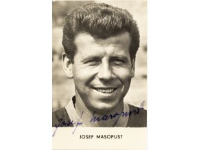 Foto kartička Malé sportovní portréty, Josef Masopust, autogram (2)