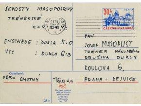 Korespondenční lístek , adresovaný J. Masopustovi (1)