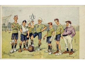 Pohlednice humor fotbal Nach heissen Kampfe (2)