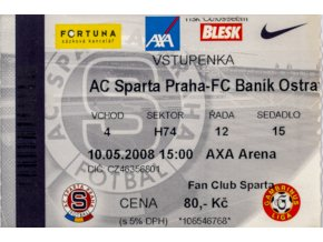 Vstupenka fotbal , Sparta Praha v. FC Baník Ostrava, 2008
