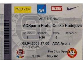 Vstupenka fotbal , Sparta Praha v. České Budějovice, 2008