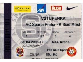Vstupenka fotbal , Sparta Praha v. FI Siad Most, 2008