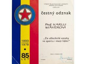 Dokument, čestný odznak, AC Sparta, 1978