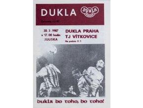 Program Dukla Praha v.TJ Vítkovice, 1987