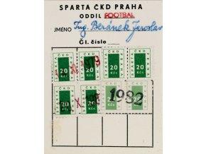 Členská legitimace SPARTA ČKD PRAHA 1982