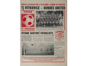 Program fotbal, TJ Vítkovice v. Dundee United, 1987