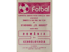 Program fotbal, Romania si. Czechoslovakia, 1983