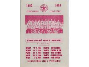 Program hokej, Sparta Praha, 1983 1984