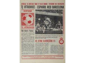 Program fotbal, TJ Vítkovice v. Espaňol RCD Barcelona, 1987