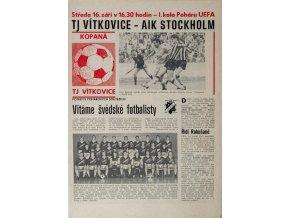 Program fotbal, TJ Vítkovice v. AIK Stockholm, 1987