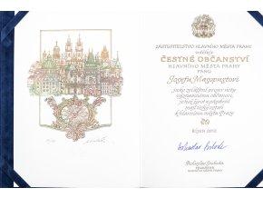 Dokument, Udělení čestného občanství hl.m. Prahy J. Masopustovi , B. Svoboda, 2012 (3)