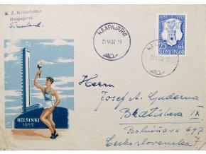 FDC Helsinky 1952 HAAPAJARVI
