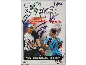 Official Program Davis Cup, CZ v. Švýcarsko, autogramy hráčů, 2007