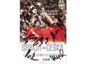 Official Program Davis Cup, Serbia v. Češka, autogramy hráčů, 2010