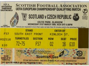 Vstupenka Scotland v. Czech Republicm football, Euro 2000