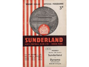 Program official, Sunderland Assn Football Club v. Dynamo Czechoslovakia ( Slavia), 1958 (1)
