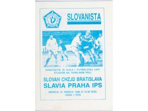 Program fotbal, Slovanista, Slovan Bratislava v. Slavia Praha, 1989