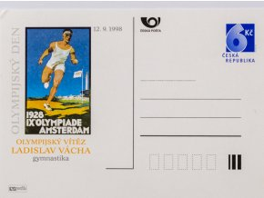 Korespondenční lístek, V. Vácha, OH vítěz 1928