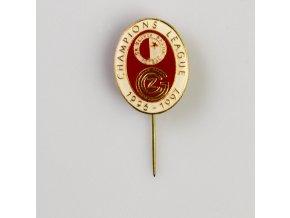 Odznak Champions league 1995 1996 Slavia vs. Grasshoppers RED WHT