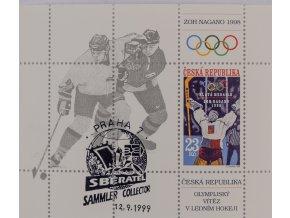 Výplatní známka, Aršík A 177, 1998, Nagano, hokej, razítko