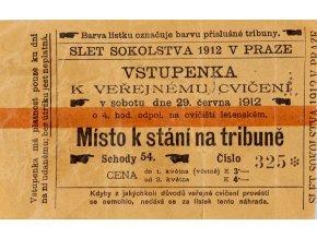 Vstupenka, slet Sokolstva, 1912 (1)